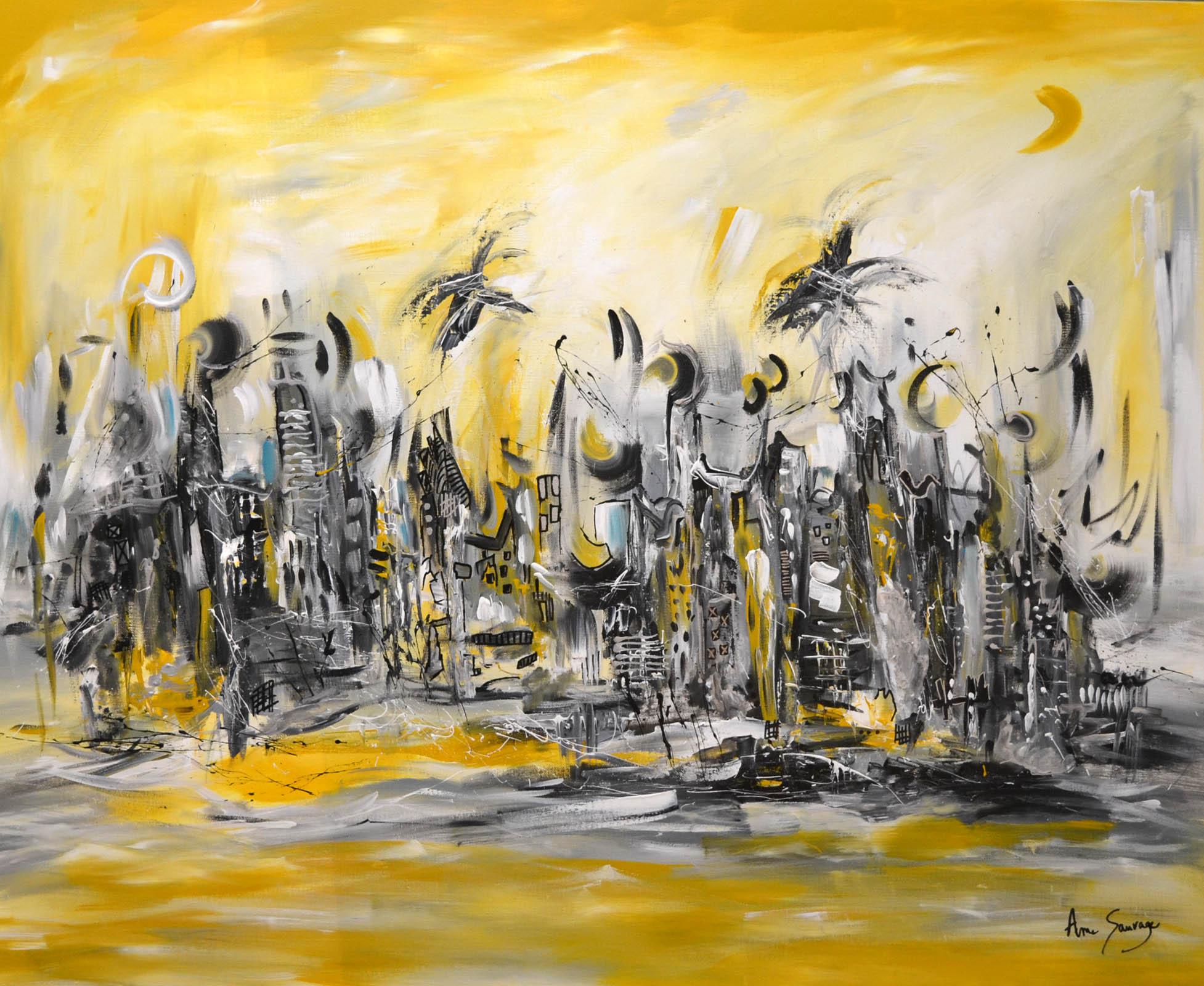 grand tableau jaune moutarde gris