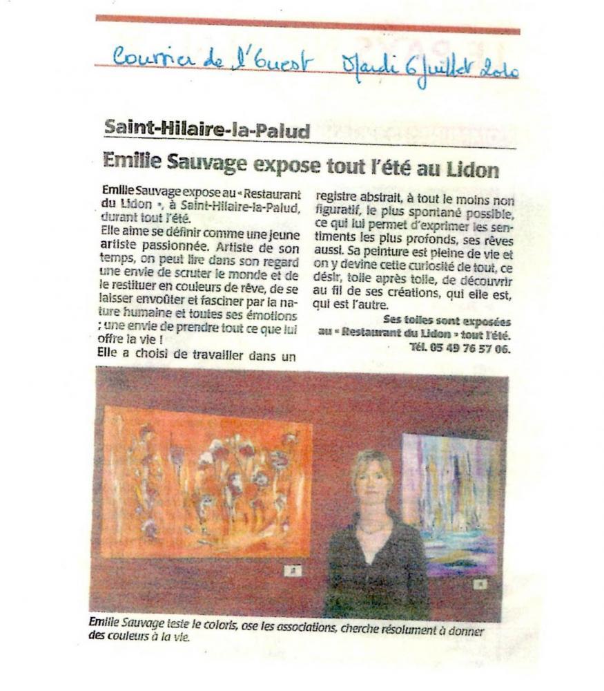 Article sur l'artiste peintre paru dans le journal Courrier de l'ouest