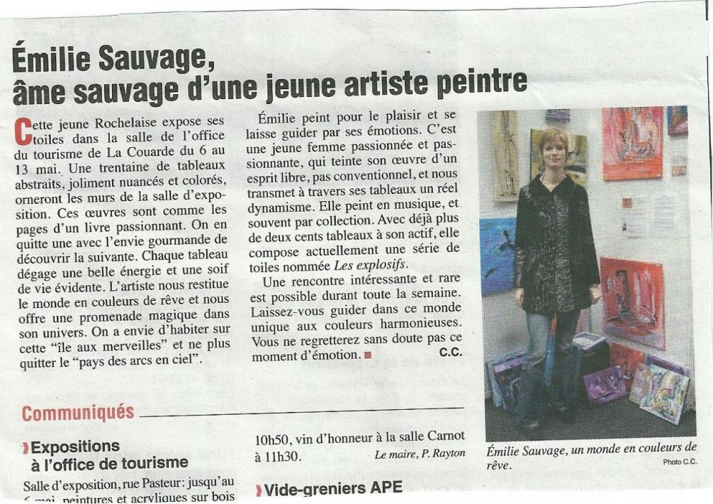 Articlede presse paru le 4 mai 2011 dans le journal de l'ile de Ré intitulé LE PHARE DE RÉ.