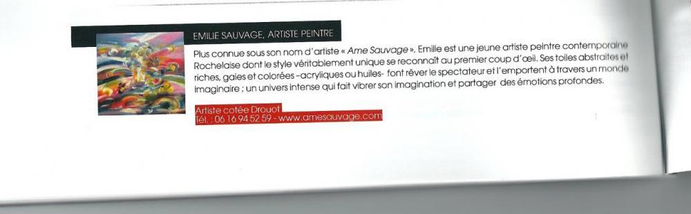 Article paru dans le magazine portrait d'artistes.