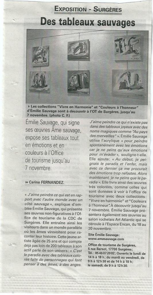 Article de presse paru à l'occasion de mon exposition de peintures à l'office de tourisme de Surgères