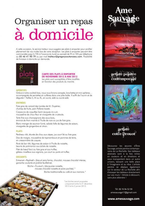 """Parution d'un article avec deux toiles abstraites dans """"les carnets de Grégory», magazine automne-hiver 2012-2013"""
