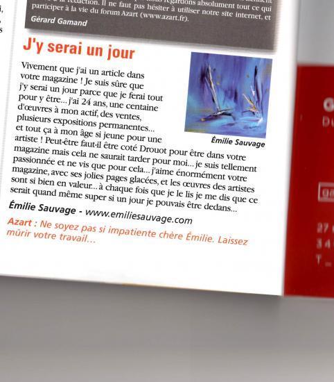 Article paru sur l'artiste peintre dans le magazine international de la peinture : AZART 1ère page, derrière le sommaire.
