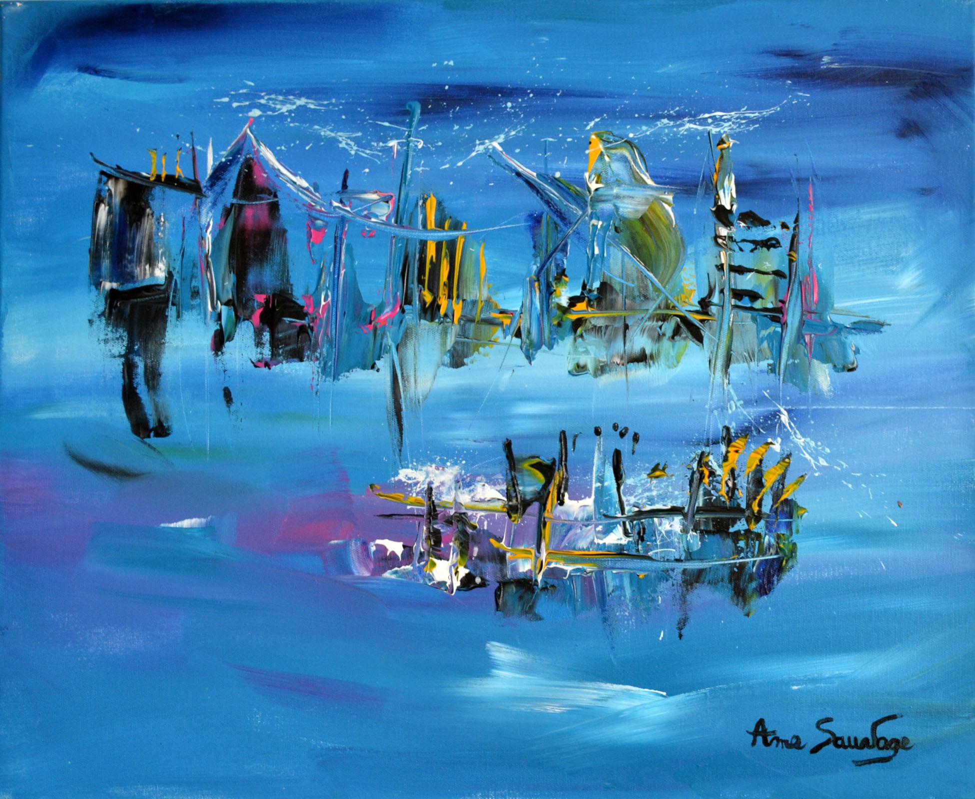 grand tableau bleu