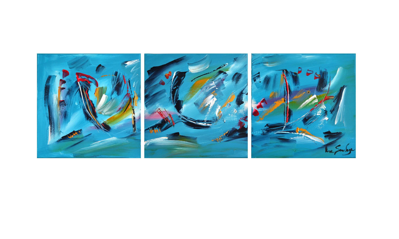 Tableau Triptyque Abstrait Moderne Artiste Peintre Contemporain