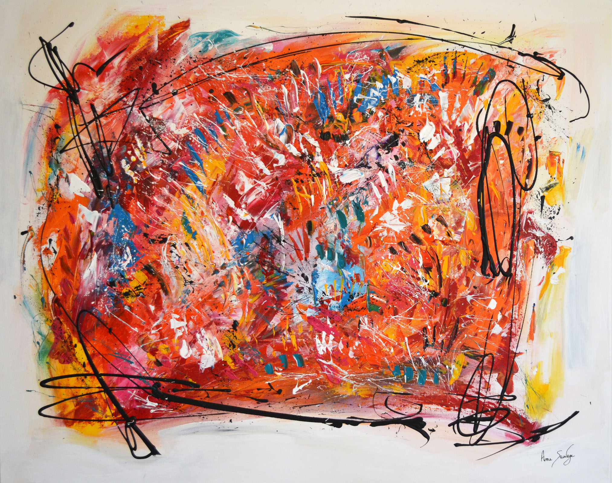 Grand tableau contemporain abstrait multicolore les ondes for Tableau contemporain abstrait