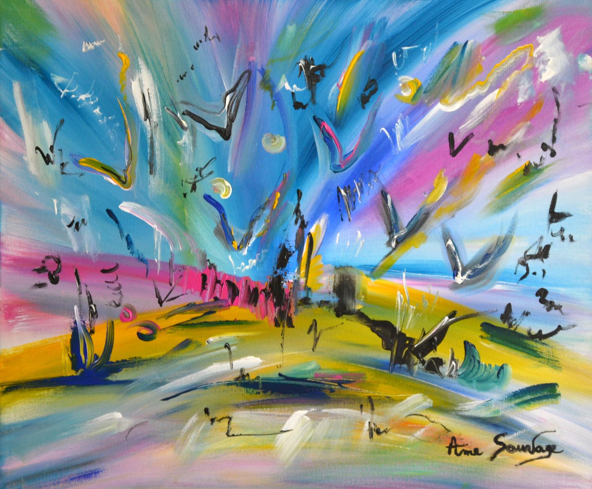 Peinture moderne avec des oiseaux abstraits artiste for Peintures abstraites