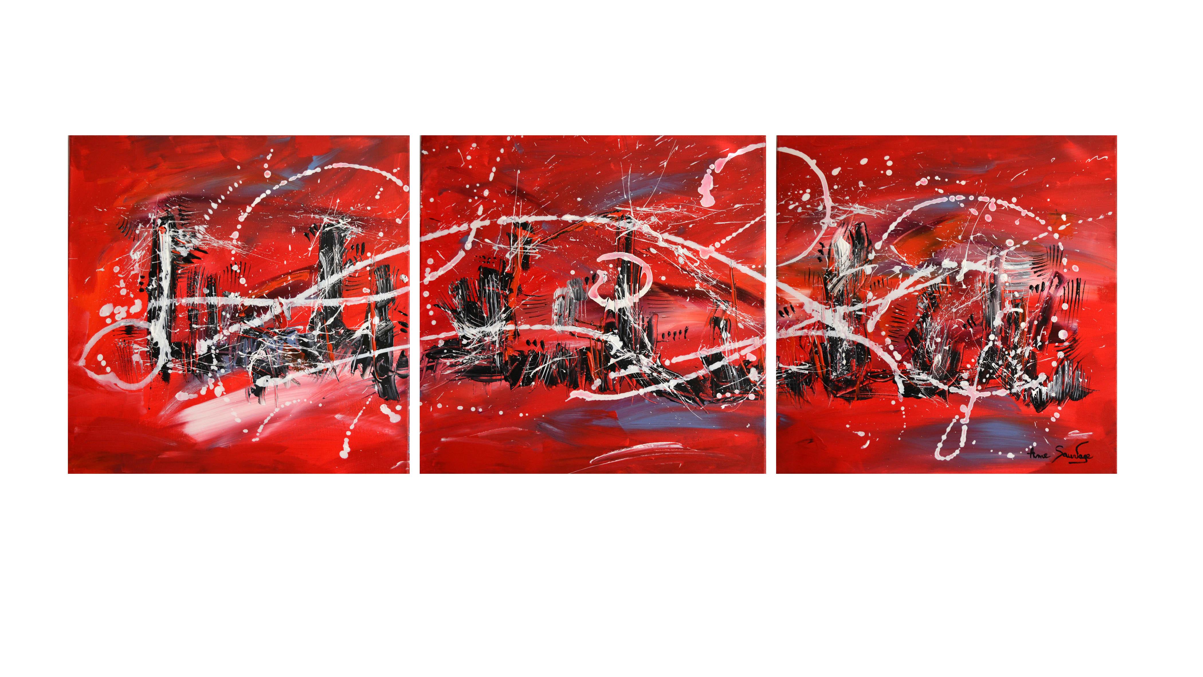 Tableau triptyque moderne rouge noir blanc design for Tableau triptyque noir et blanc