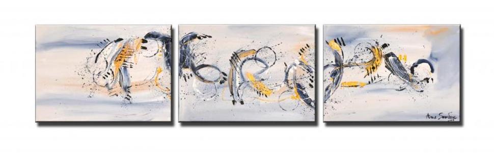 tableau abstrait triptyque panoramique gris bleut blanc or union. Black Bedroom Furniture Sets. Home Design Ideas