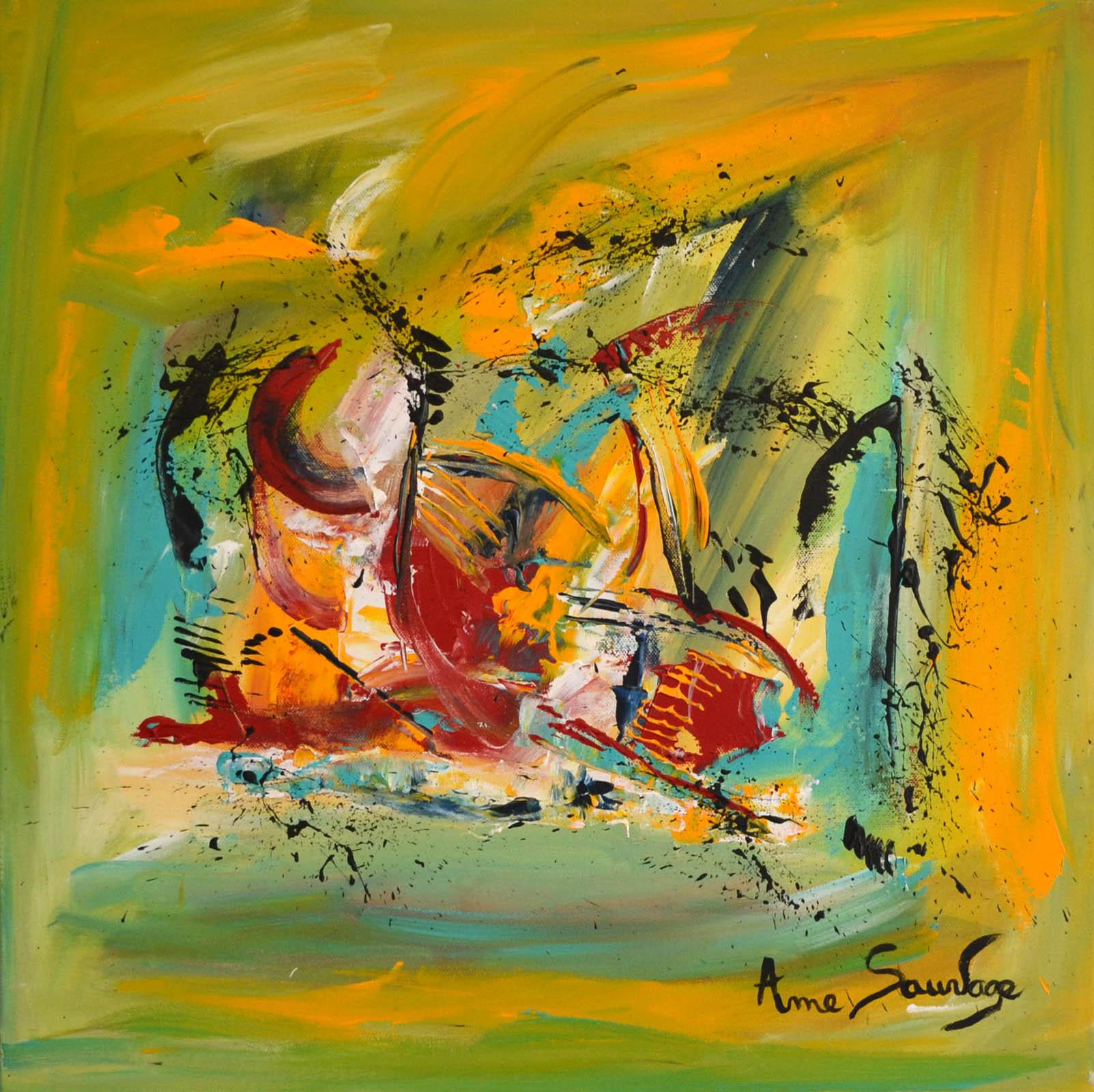 Peinture abstraite contemporaine vert jaune bleu rouge for Art contemporain abstrait