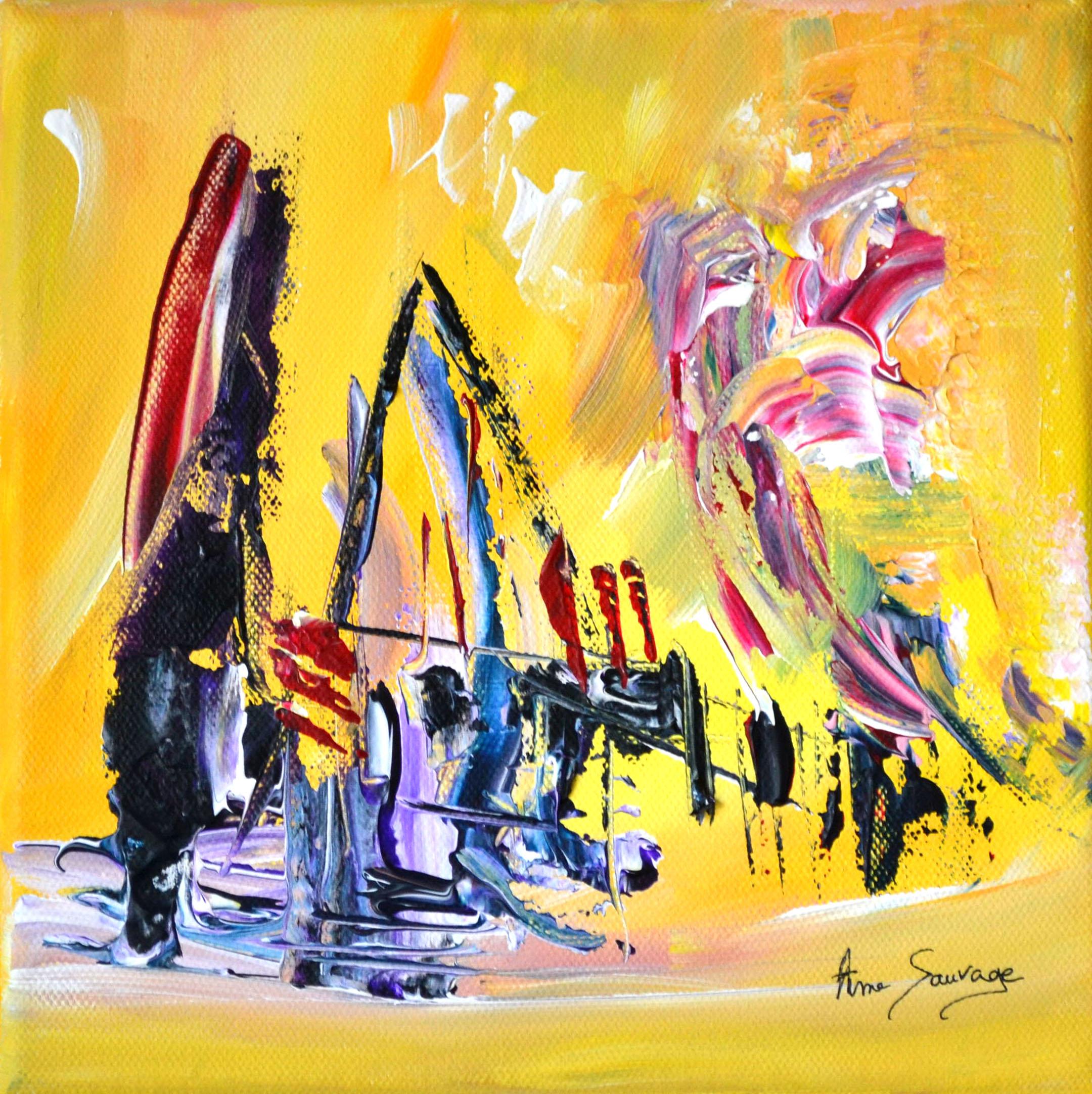 Peinture Abstraite Contemporaine Jaune Moderne