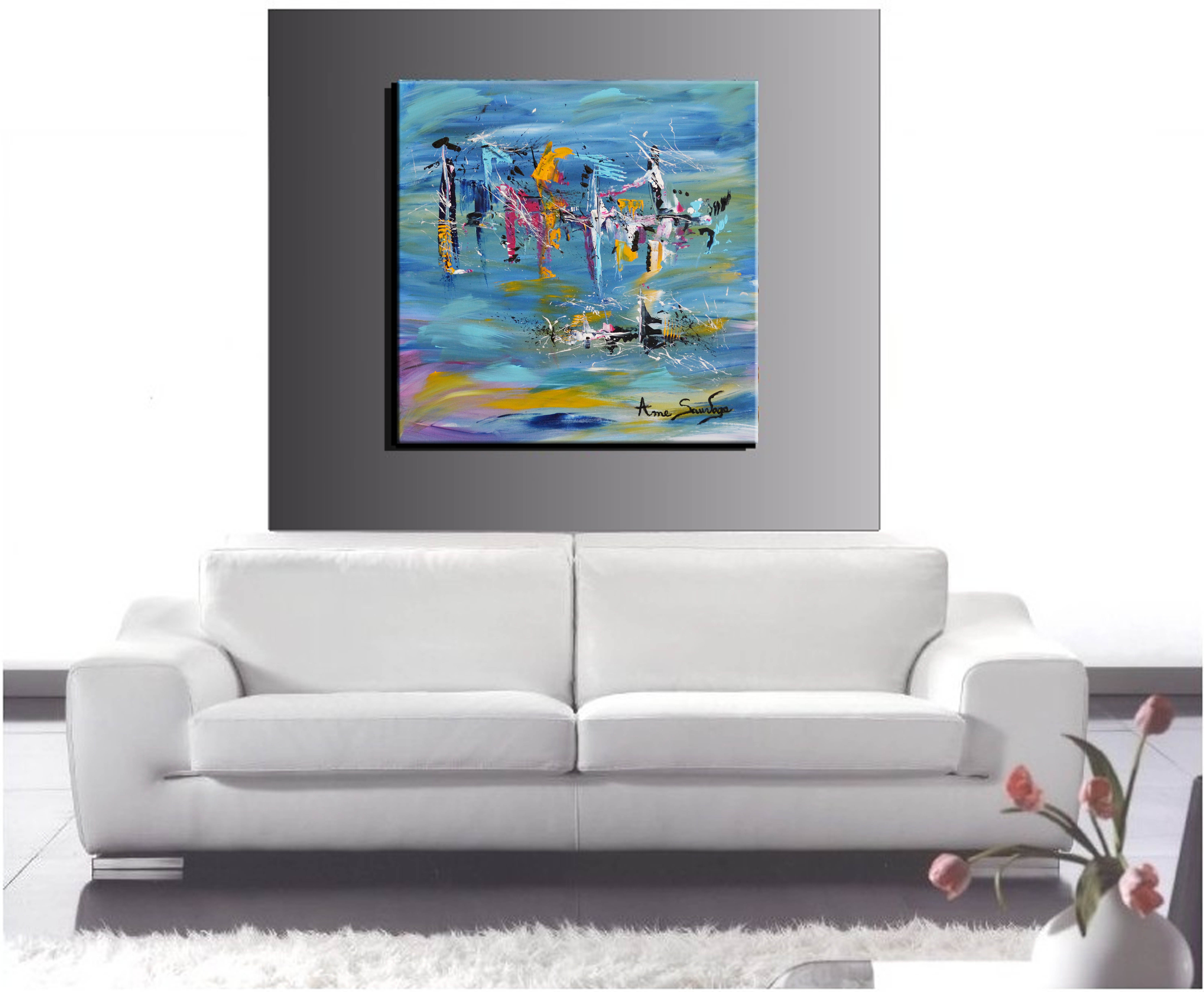 peinture abstraite moderne salon