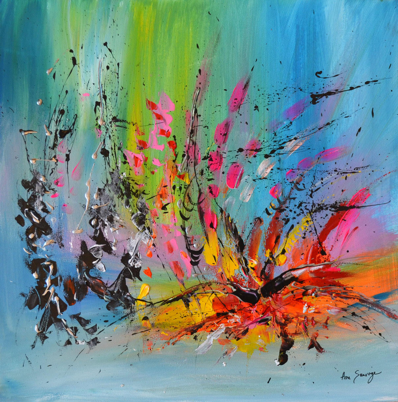 Peinture abstraite multicolore et moderne pas chère