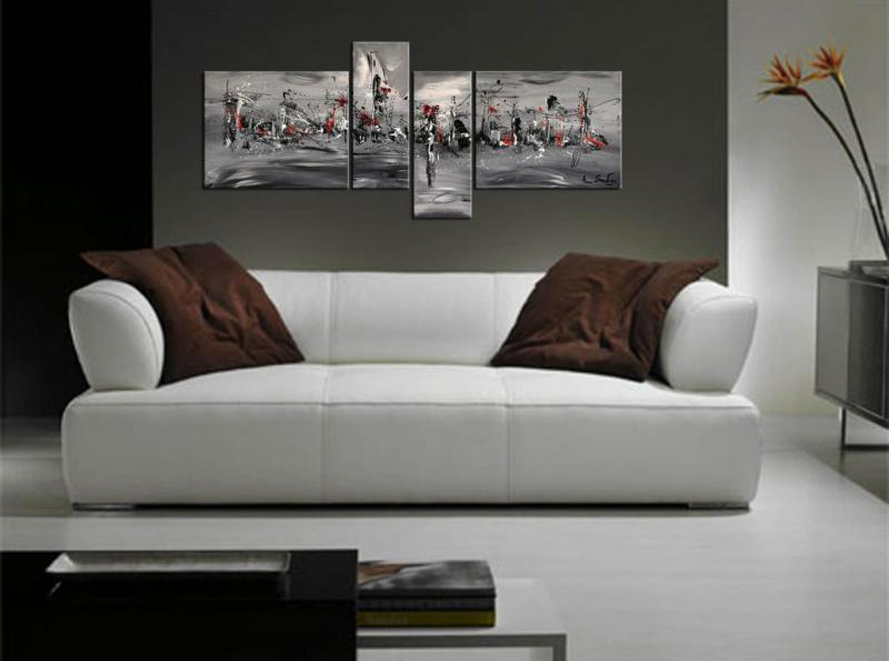 Tableau design peintures abstraites modernes d 39 artiste for Tableau noir et blanc moderne