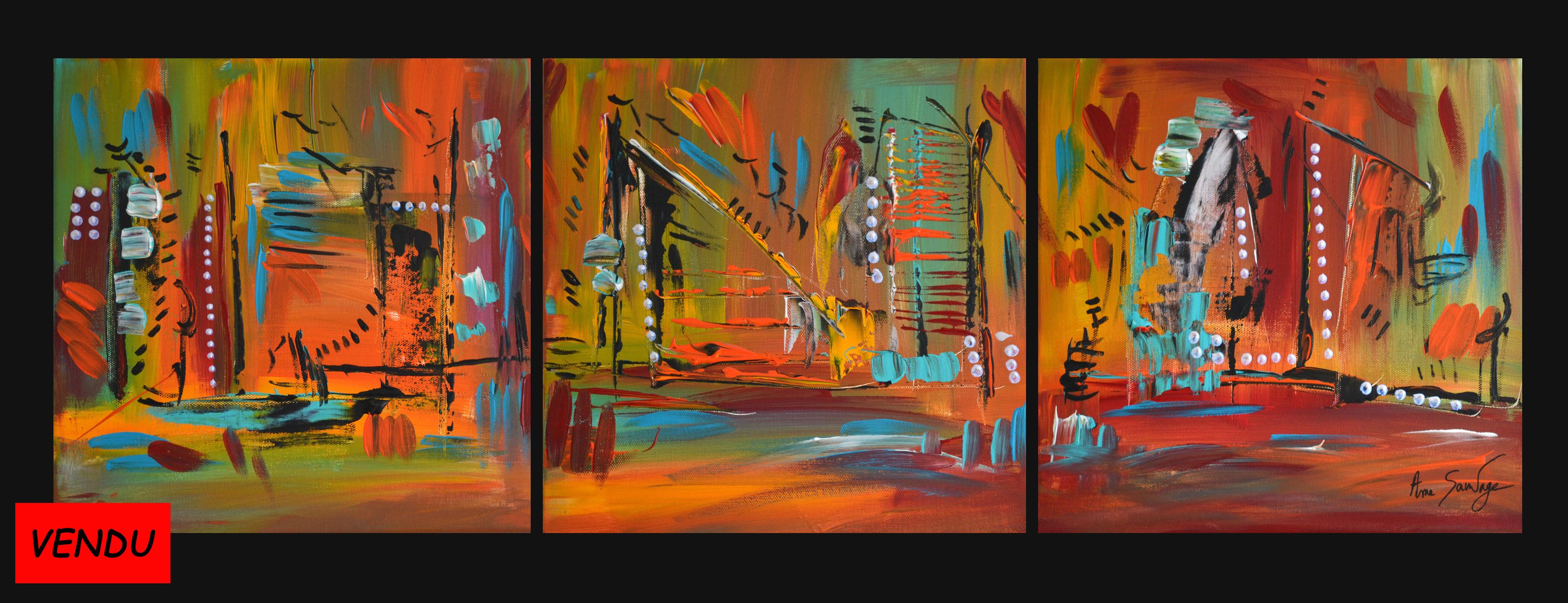 Tableau triptyque tableau abstrait contemporain en 3 parties for Tableau en 3 parties