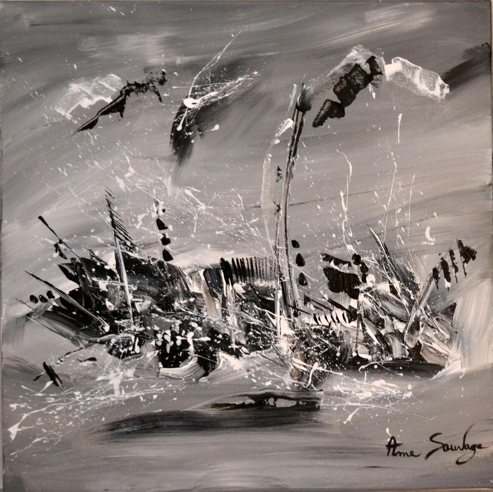 Tableaux noir et blanc tableau abstrait contemporain for Tableau noir et blanc moderne