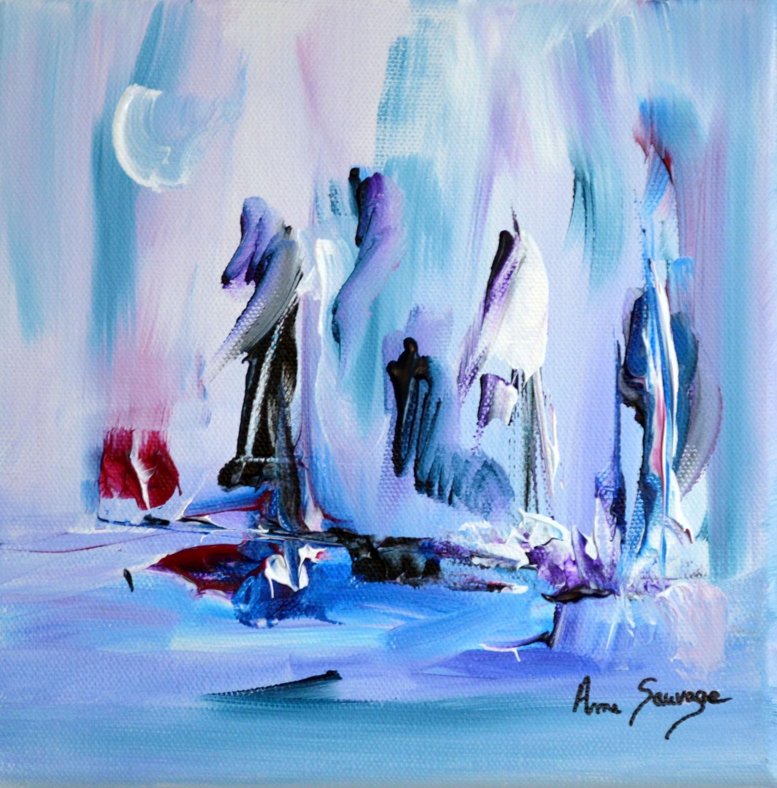 tableau abstrait bleu blanc violet une vie au froid. Black Bedroom Furniture Sets. Home Design Ideas
