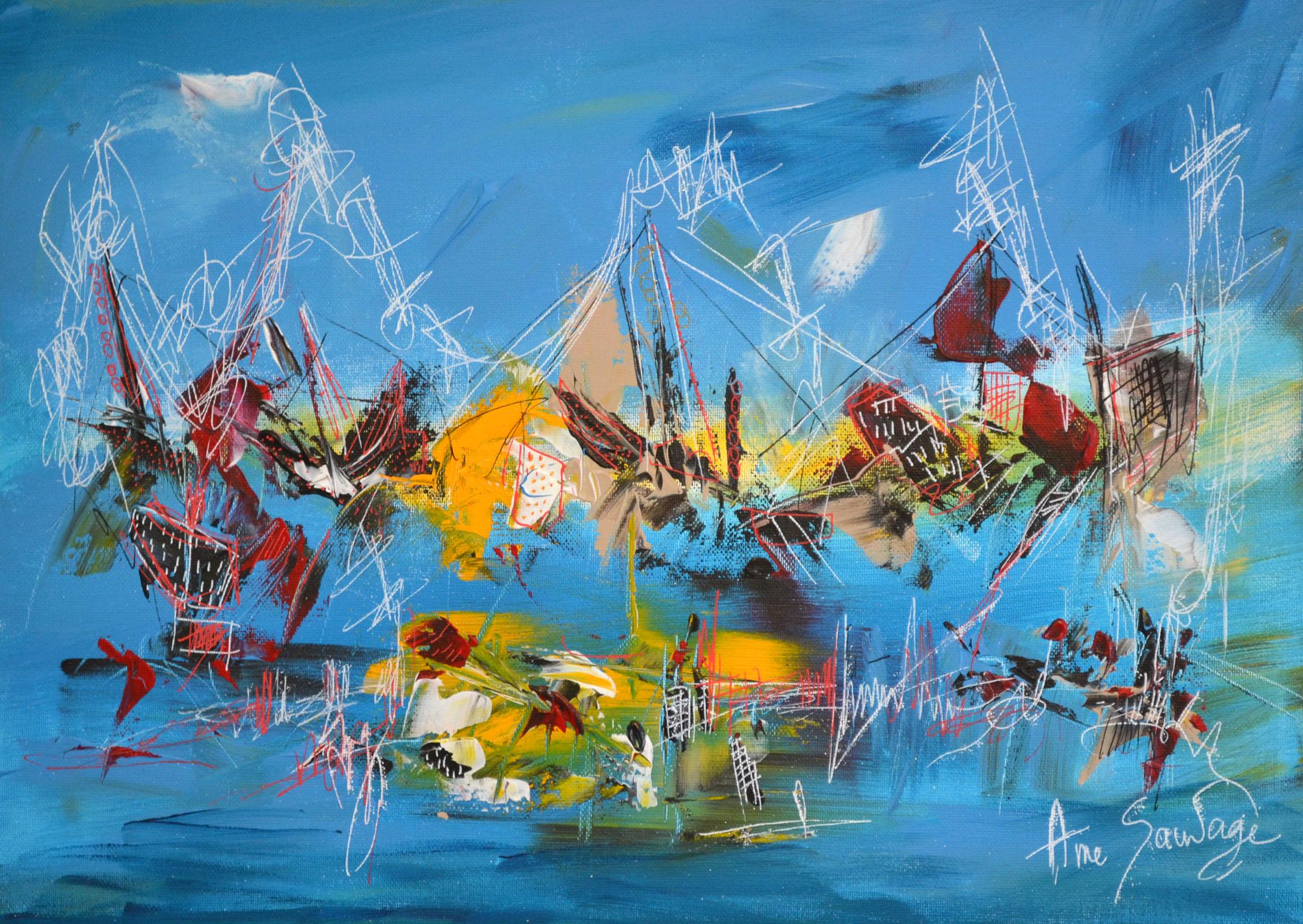 peinture sur toile bleue