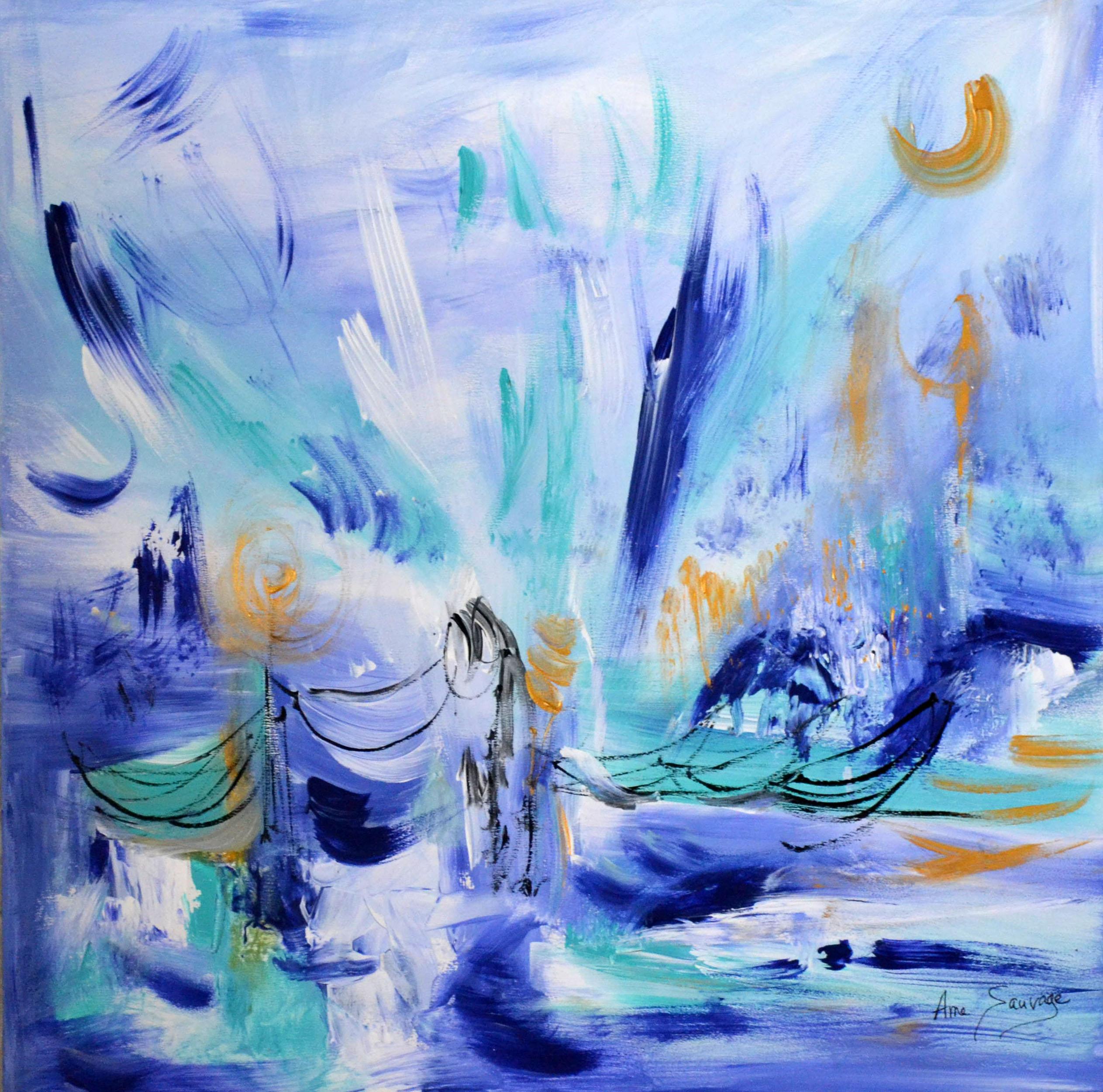 tableau abstrait bleu unique