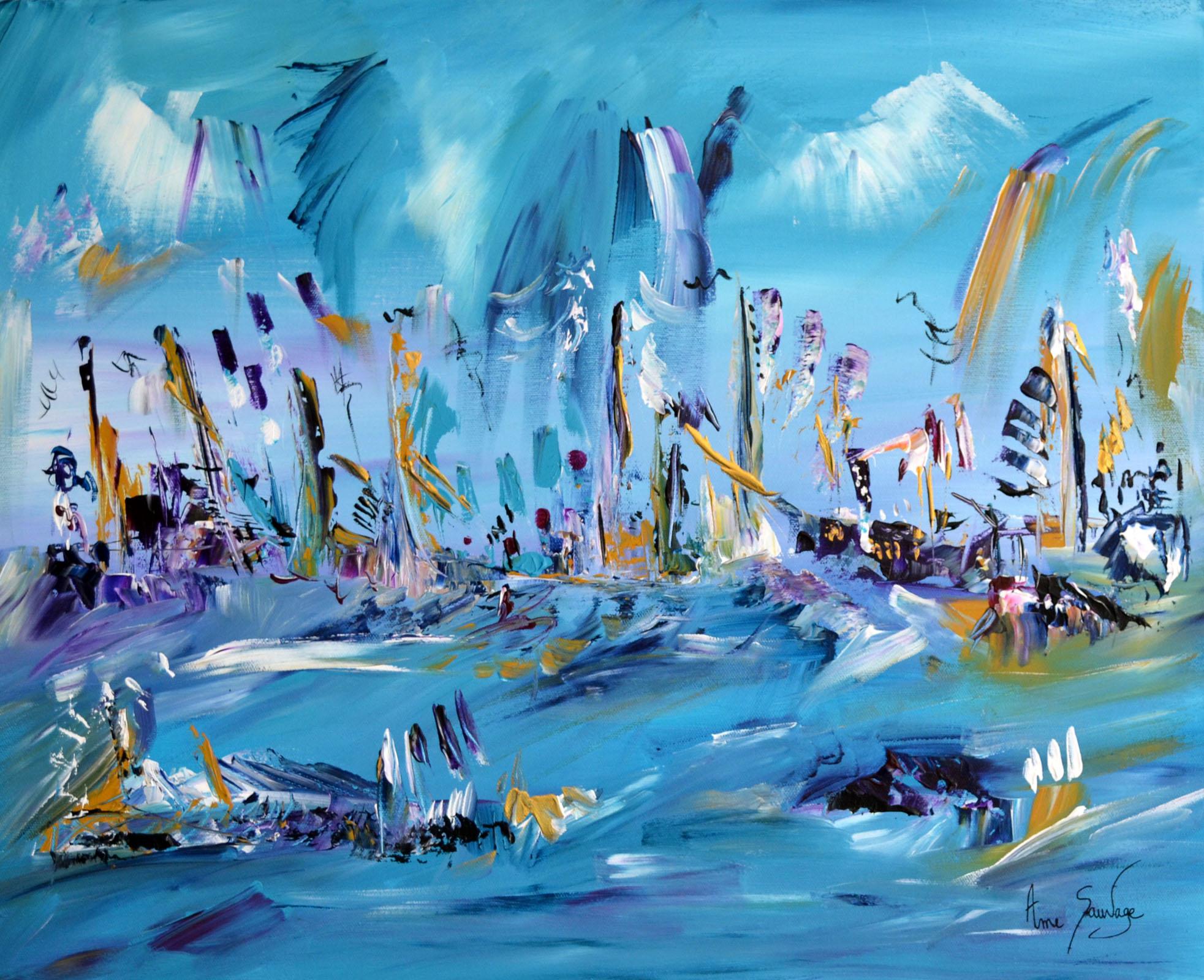 Tableau abstrait bleu artiste peintre contemporain ame sauvage - Tableaux tryptiques contemporains ...