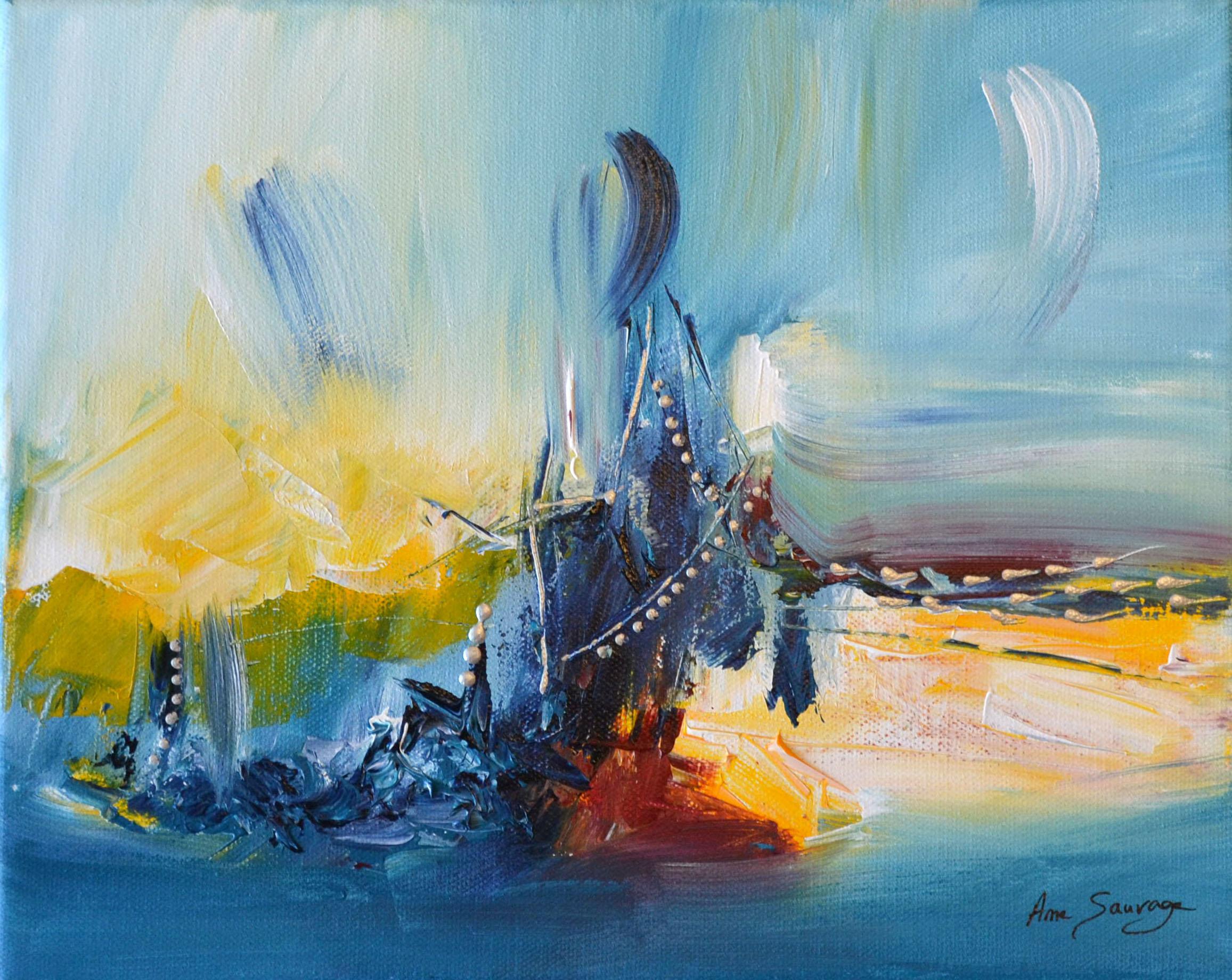 tableau abstrait bleu et jaune