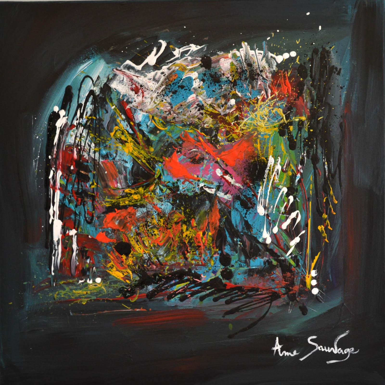Tableau abstrait contemporain flashy et peinture moderne - Tableau couleur flashy ...