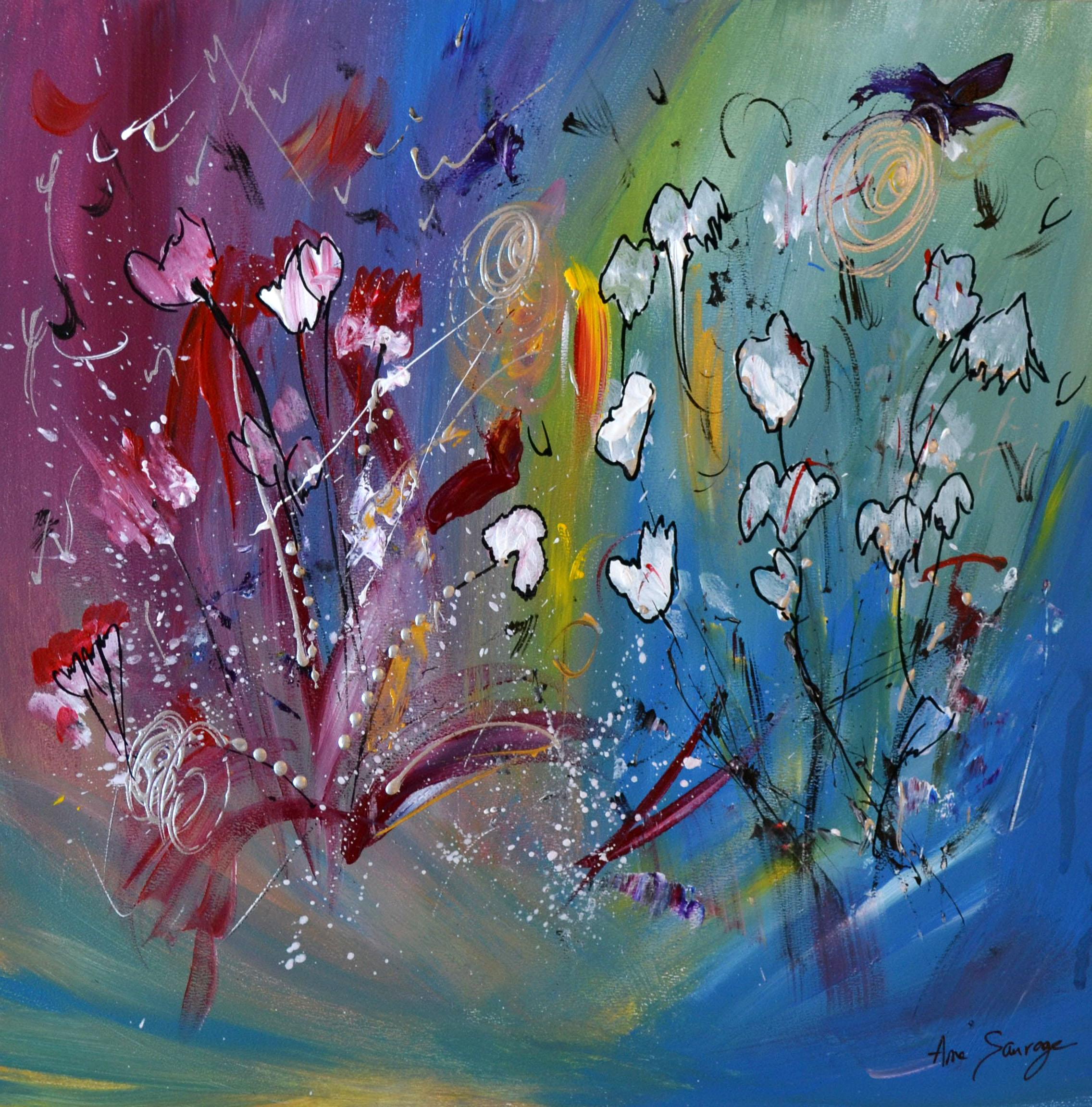 Peinture Abstraite De Fleurs Unique Et Moderne