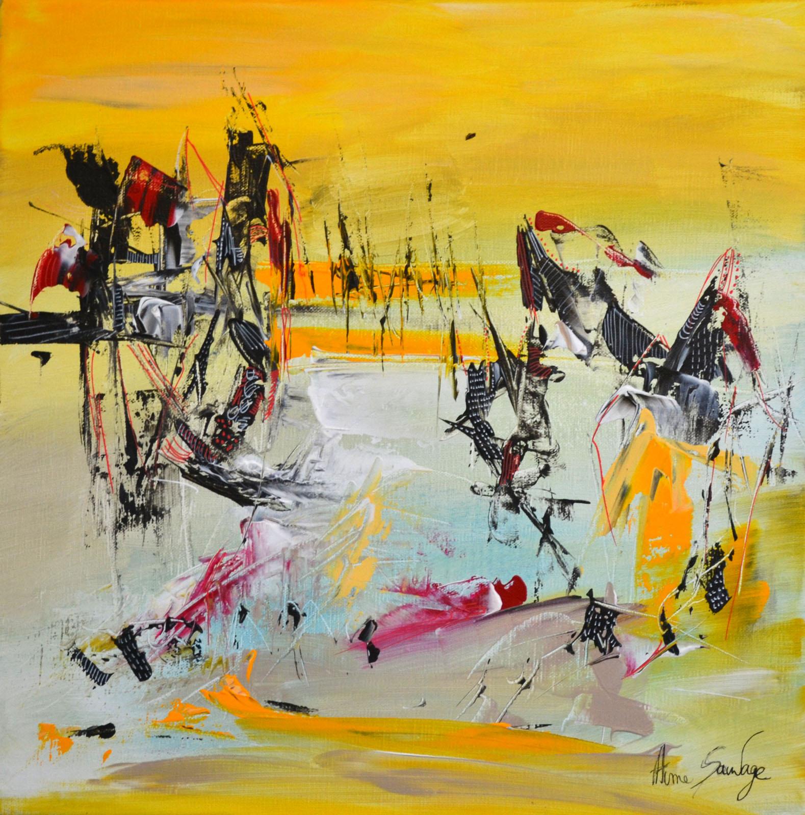 peinture moderne jaune carrée