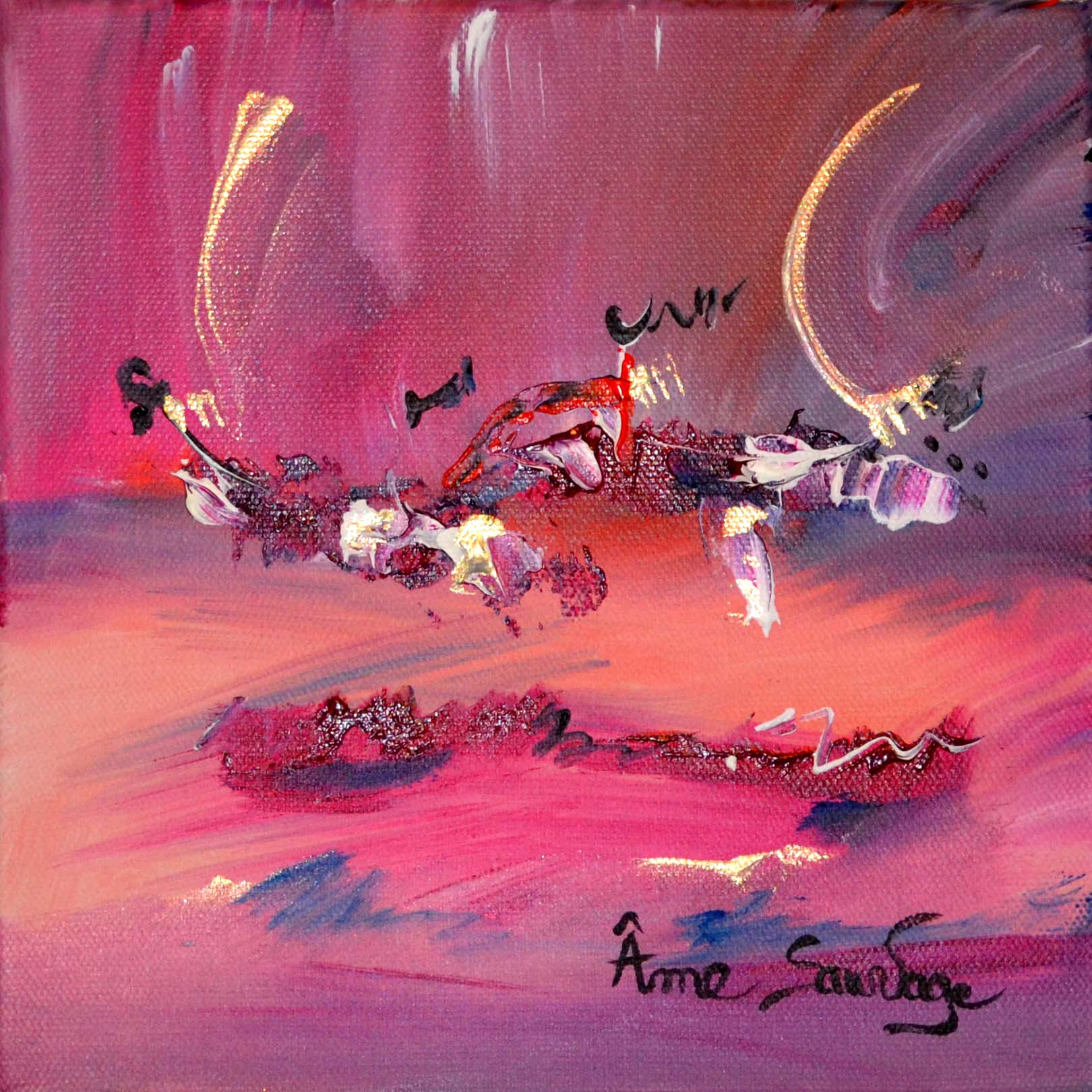 Peintures abstraites th me des oiseaux abstraits - Tableau rose et gris ...
