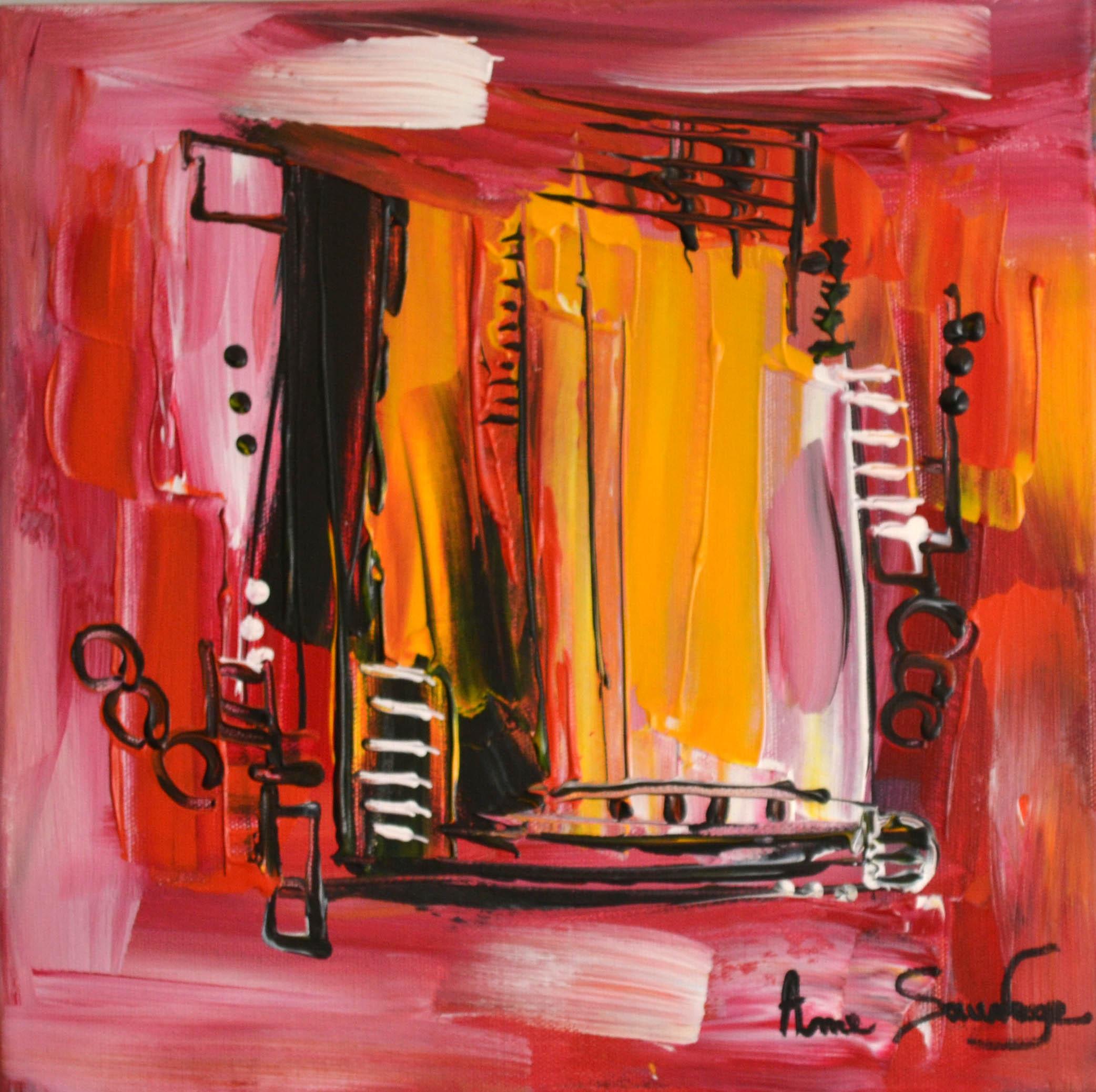 Tableau abstrait rouge et jaune au couteau peindre for Tableau abstrait gris et rouge