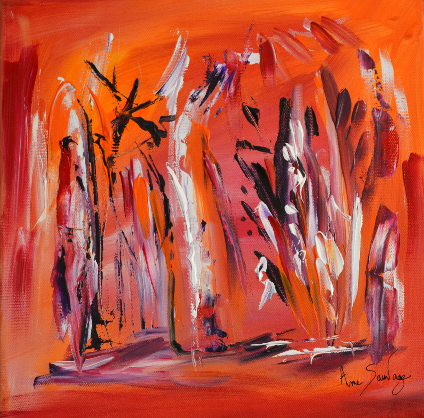 Tableau abstrait contemporain rouge orange moderne for Peinture abstraite moderne