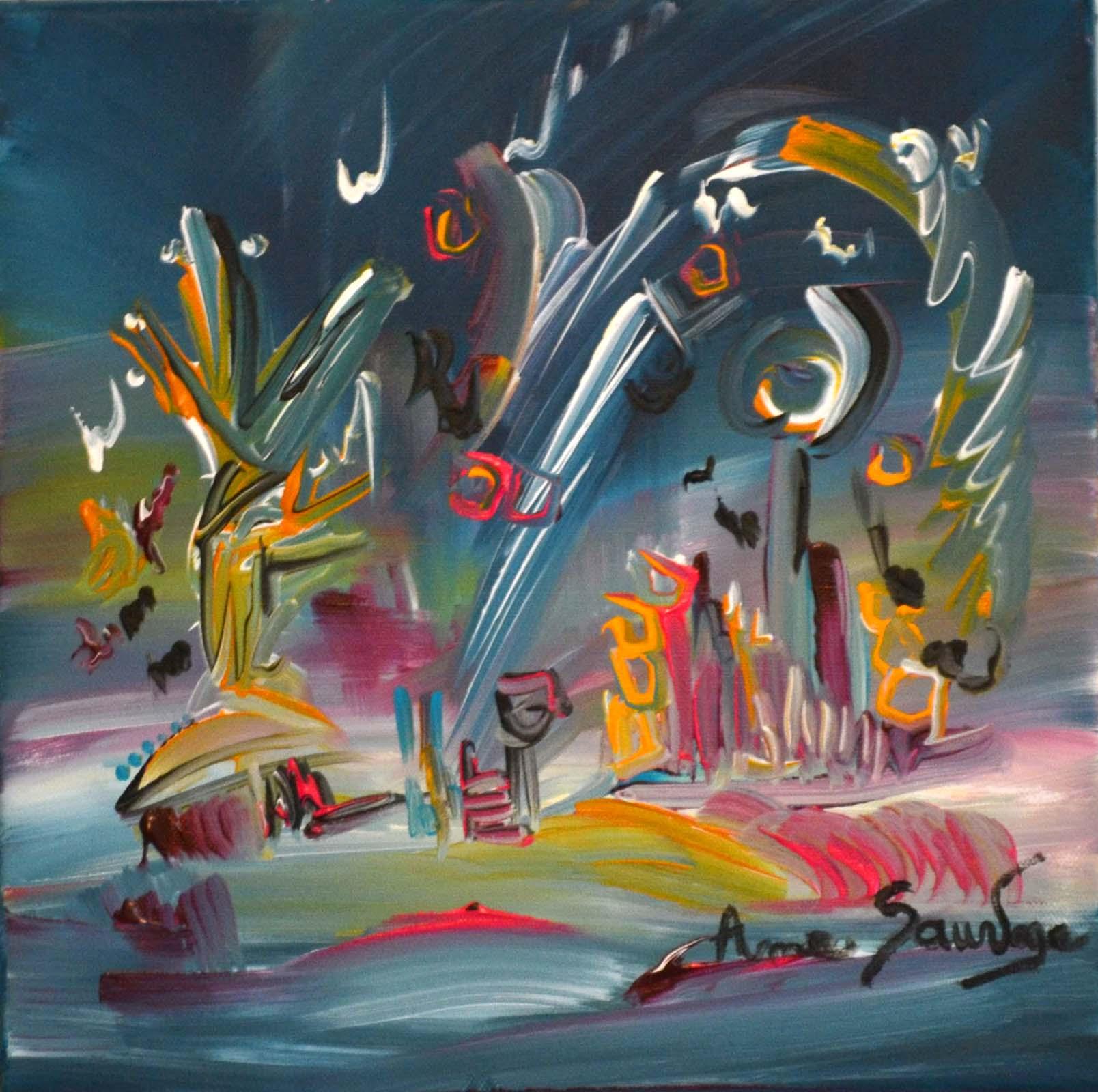 peinture abstraite 30 x 30 cm danse geometrique