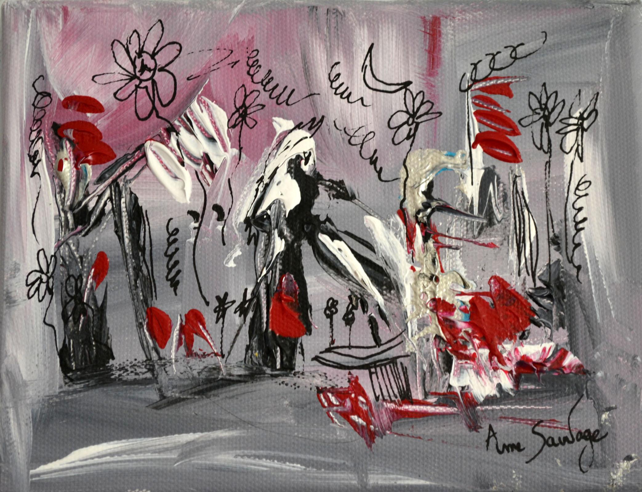 Tableau abstrait contemporain gris noir blanc rouge moderne - Tableau gris et blanc ...