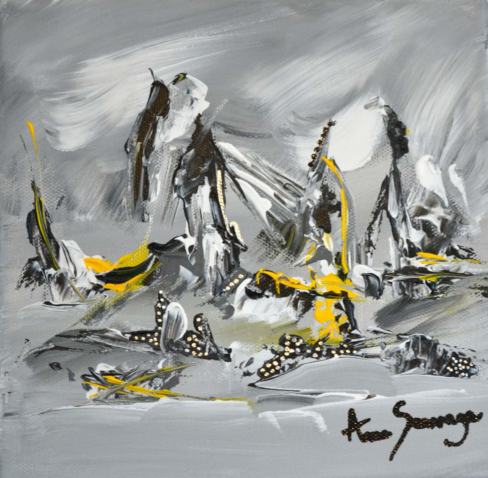 Tableau abstrait contemporain gris noir blanc jaune argent for Tableau gris noir blanc