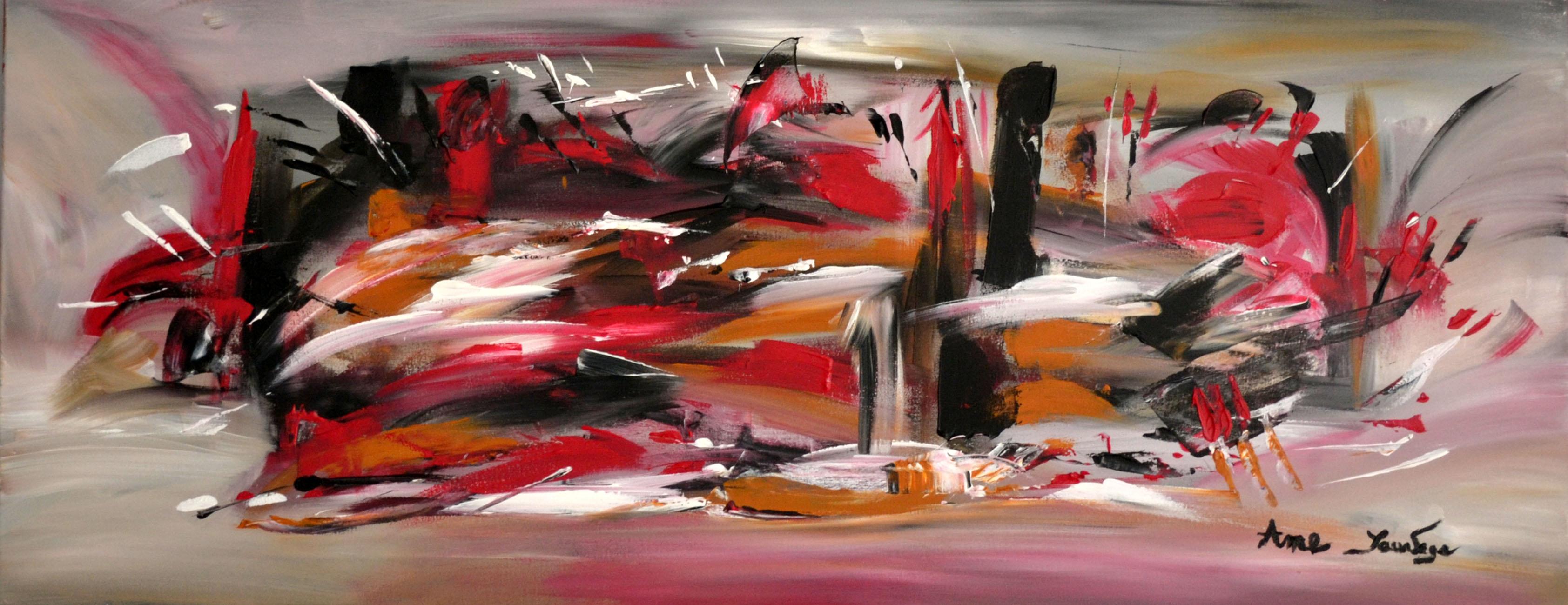 Peinture contemporaine panoramique horizontale gris noir - Tableau noir blanc gris ...