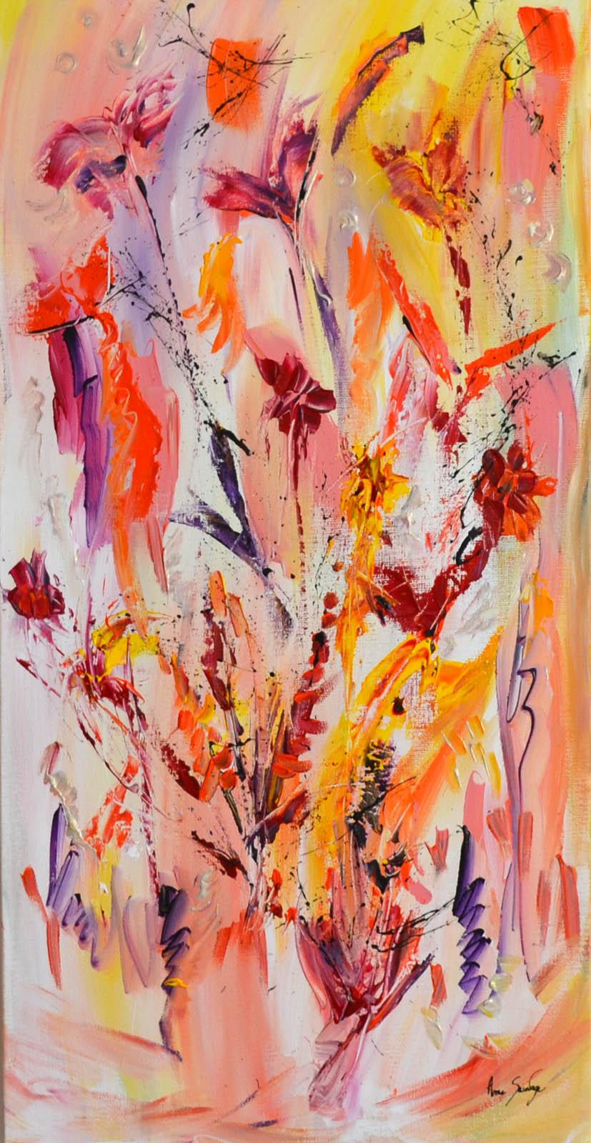 tableau abstrait multicolore panoramique vertical avec fleurs