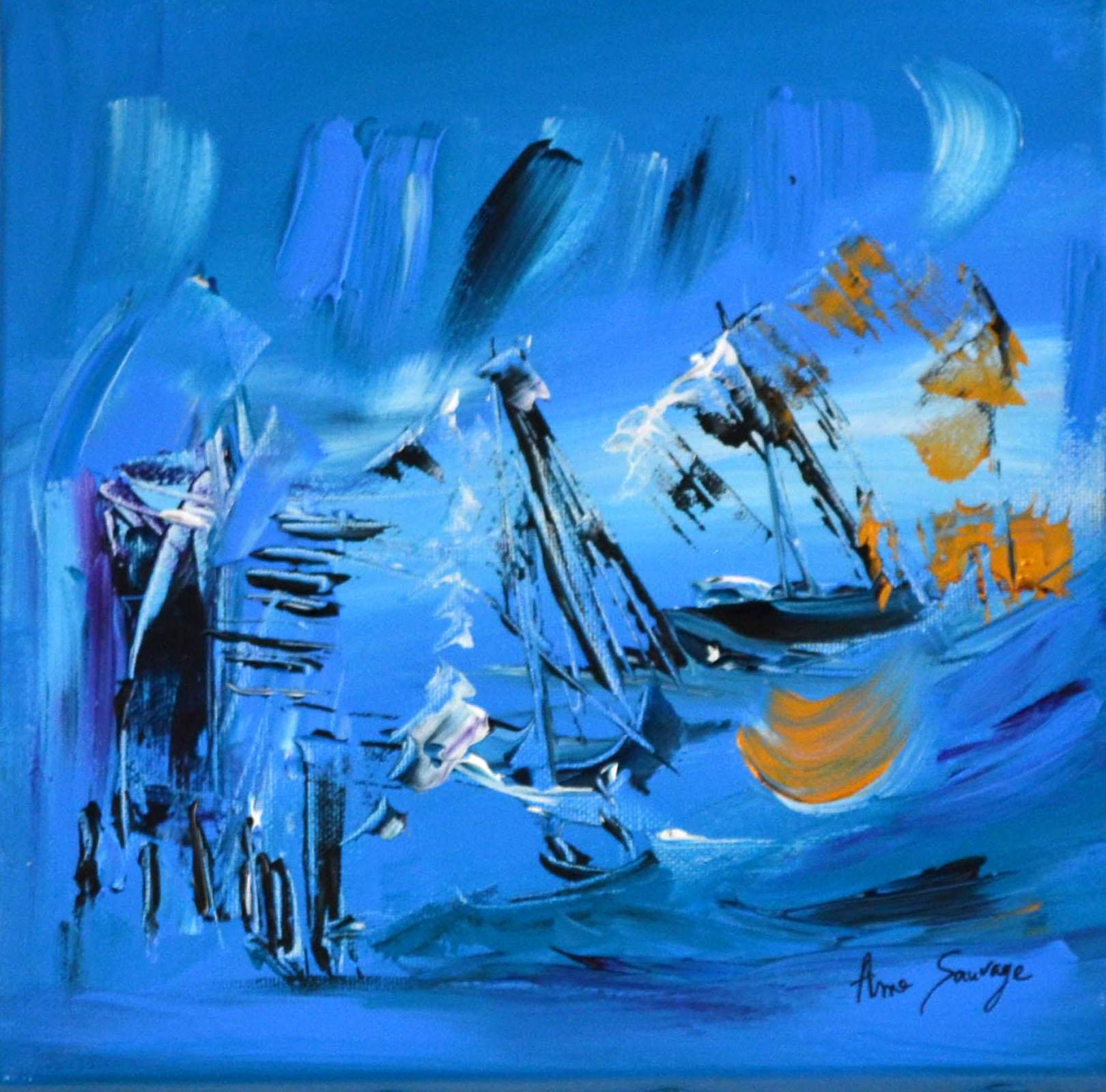 tableau abstrait bleu turquoise