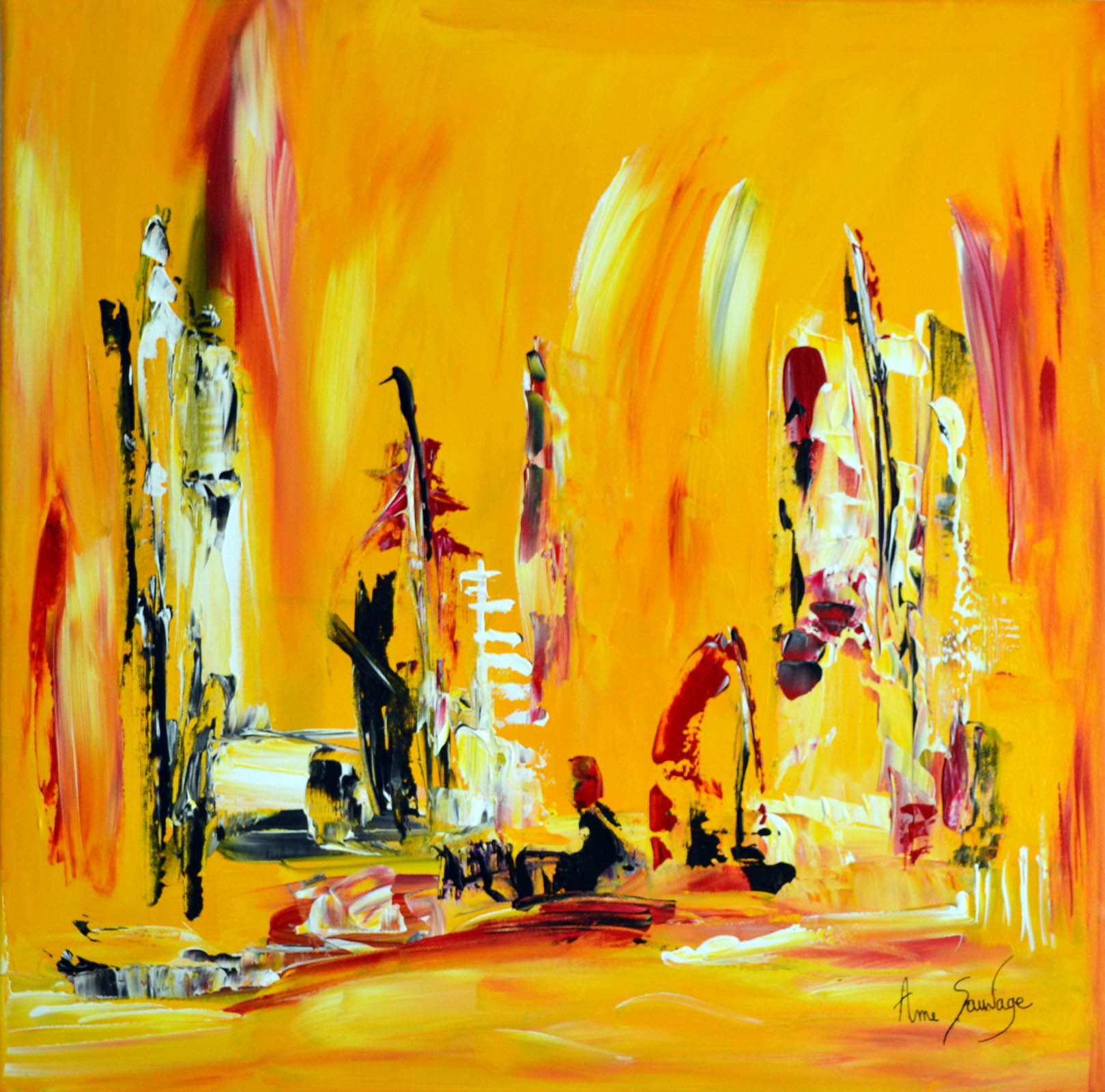 Tableau jaune abstrait moderne contemporain for Peinture abstraite moderne