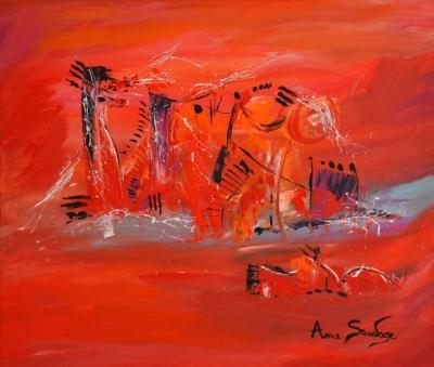 Tableaux abstraits rouges et modernes me sauvage for Peinture couleurs chaudes